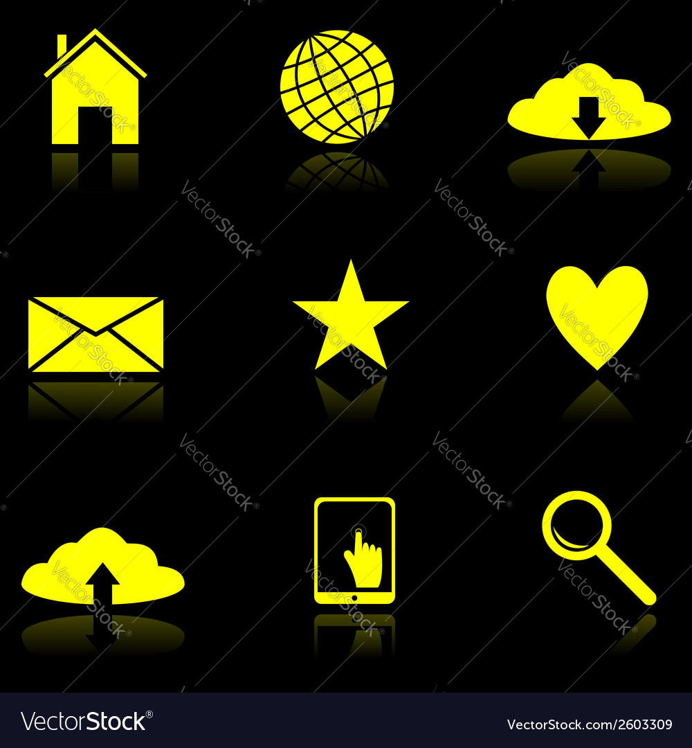 Yellow web icons on the black vector | Price: 1 Credit (USD $1)