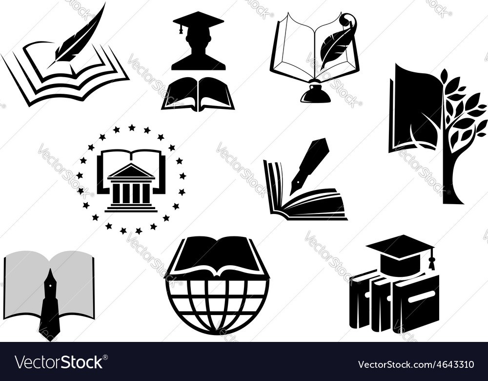 Black and white education or knowledge icons vector | Price: 1 Credit (USD $1)