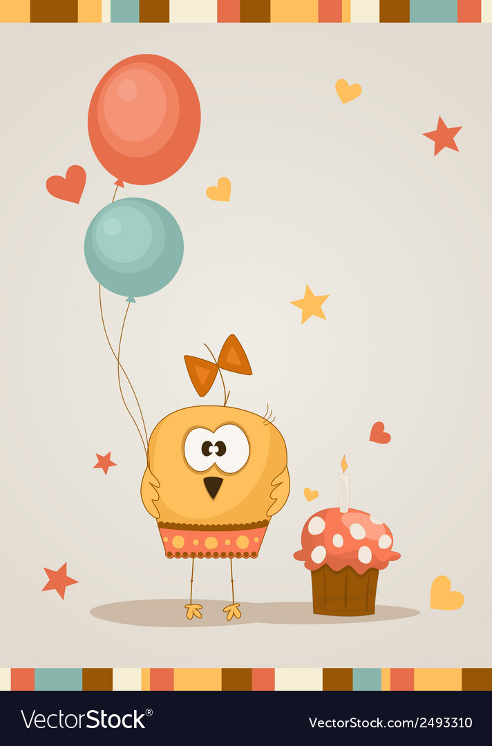 Cute happy birthday card vector | Price: 1 Credit (USD $1)