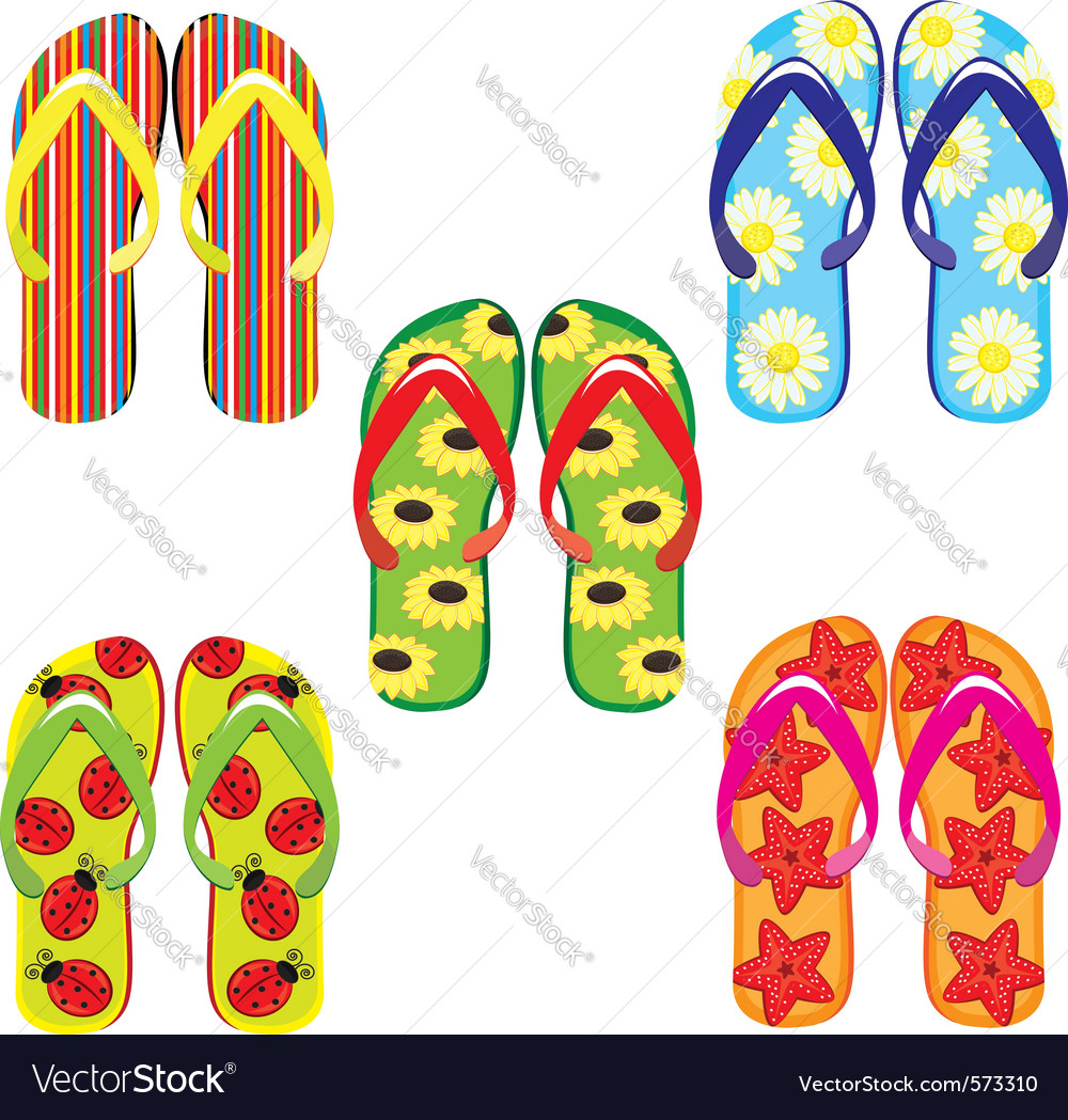 Five pairs of colorful flip flops on white backgro vector | Price: 1 Credit (USD $1)