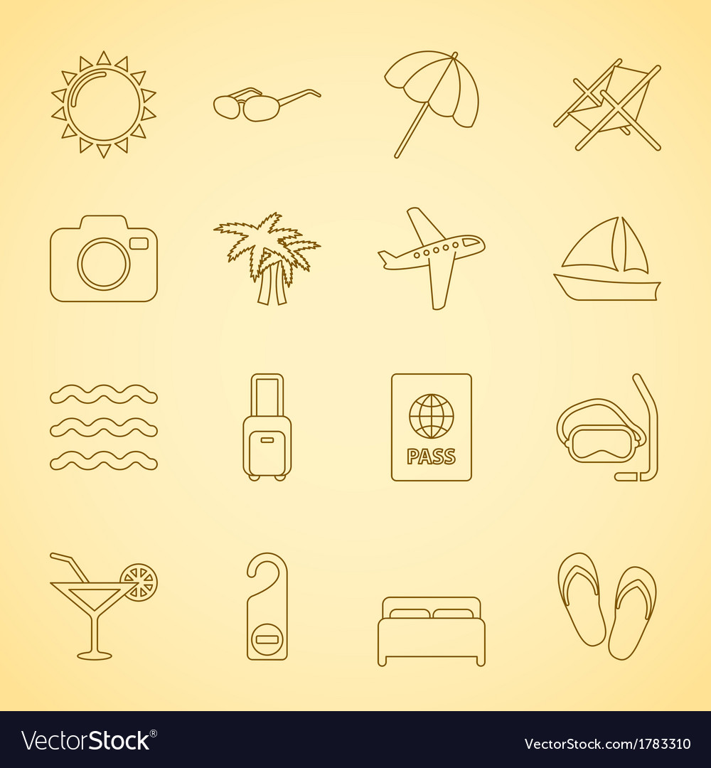 Generic travel iconset contour flat vector | Price: 1 Credit (USD $1)