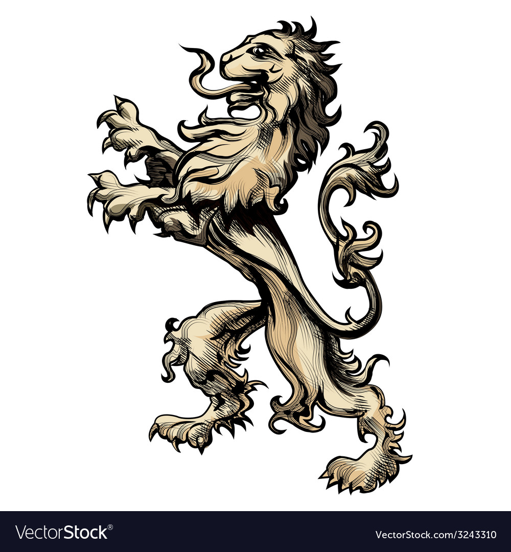 Heraldry lion drawn in engraving style vector | Price: 1 Credit (USD $1)