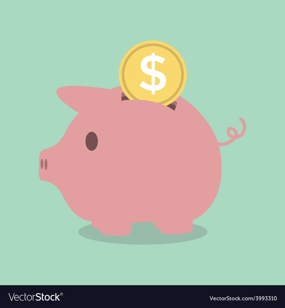 Piggy bank with a coin vector   Price: 1 Credit (USD $1)