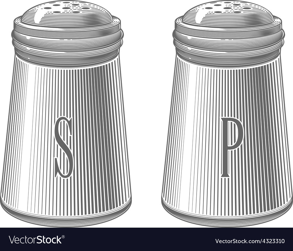 Salt and pepper shakers in engraving style vector | Price: 1 Credit (USD $1)
