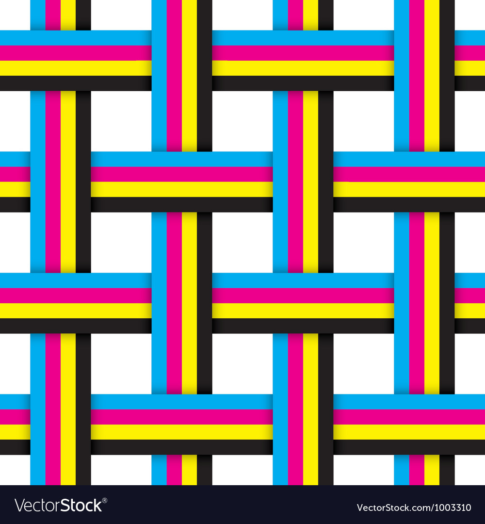 Seamless pattern with intersecting cmyk ribbons vector | Price: 1 Credit (USD $1)