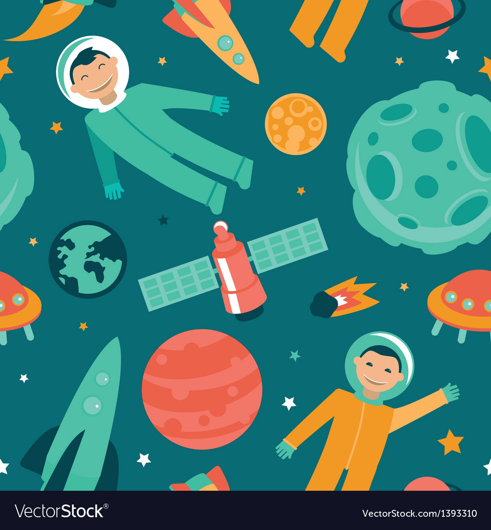 Seamless pattern with space and planets vector | Price: 1 Credit (USD $1)