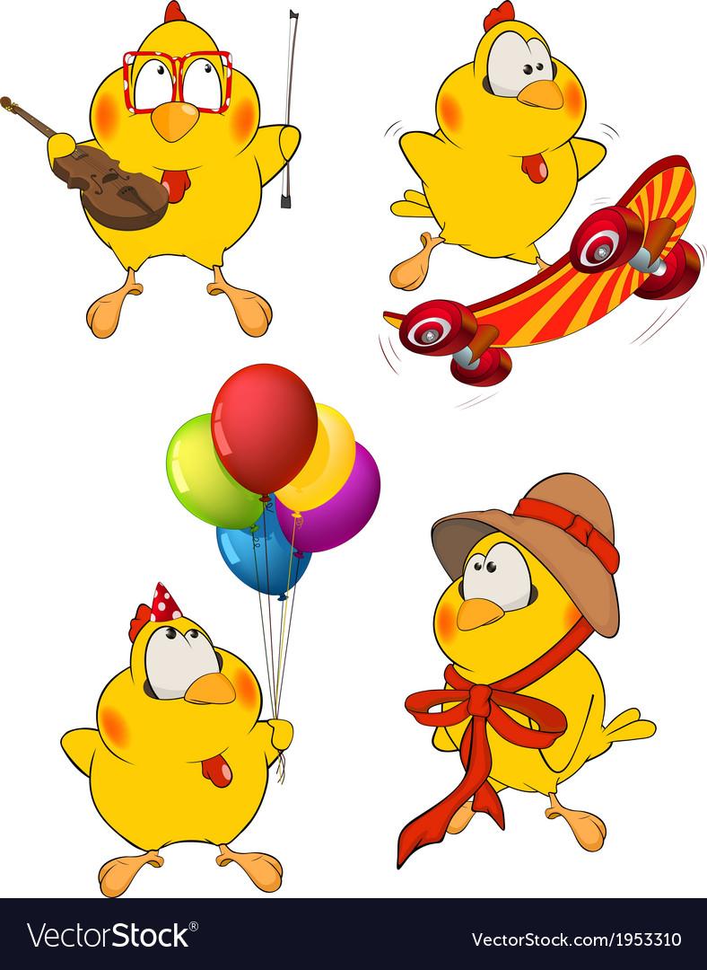 Set of chicken cartoons vector | Price: 1 Credit (USD $1)