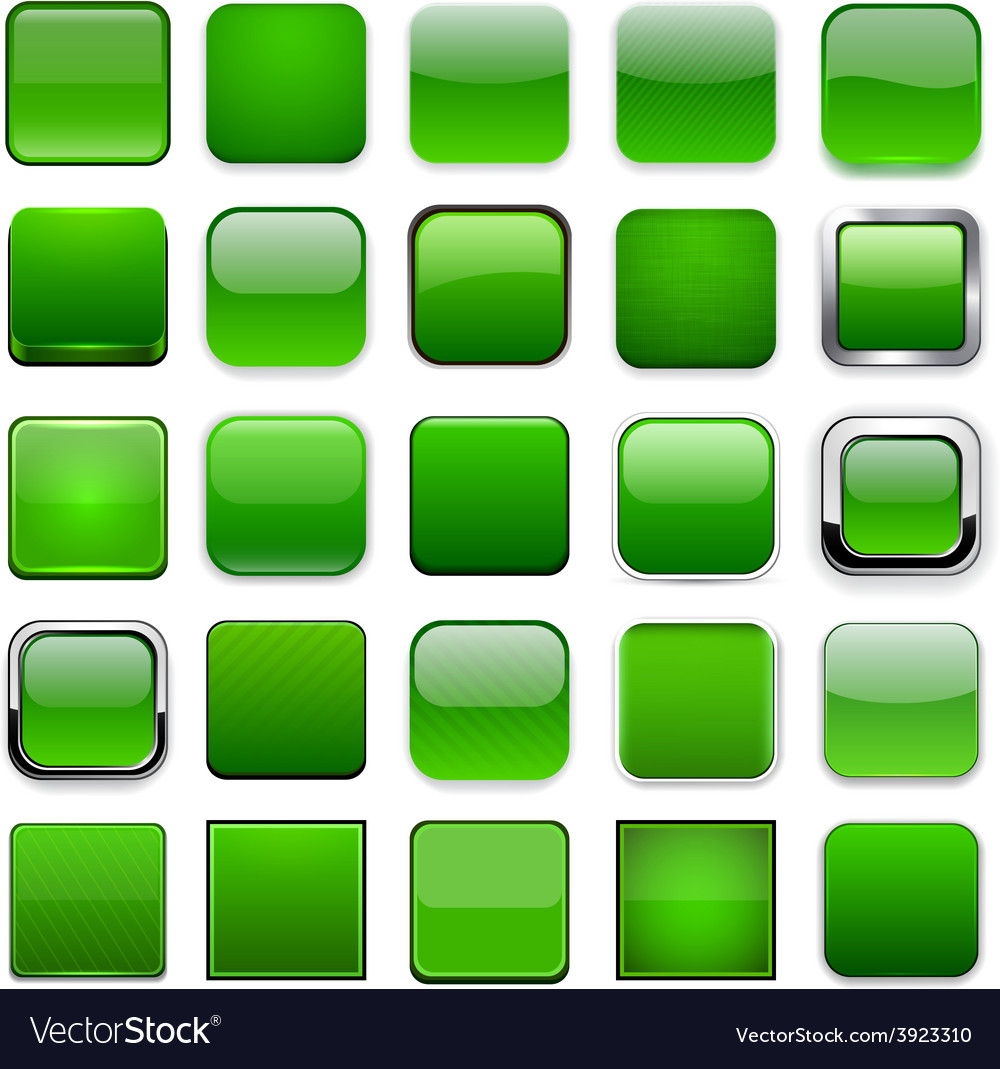 Square green app icons vector   Price: 1 Credit (USD $1)