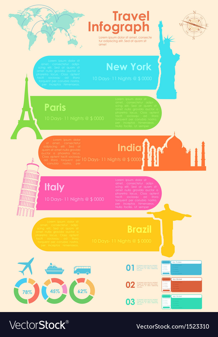Travel infographic chart vector | Price: 1 Credit (USD $1)