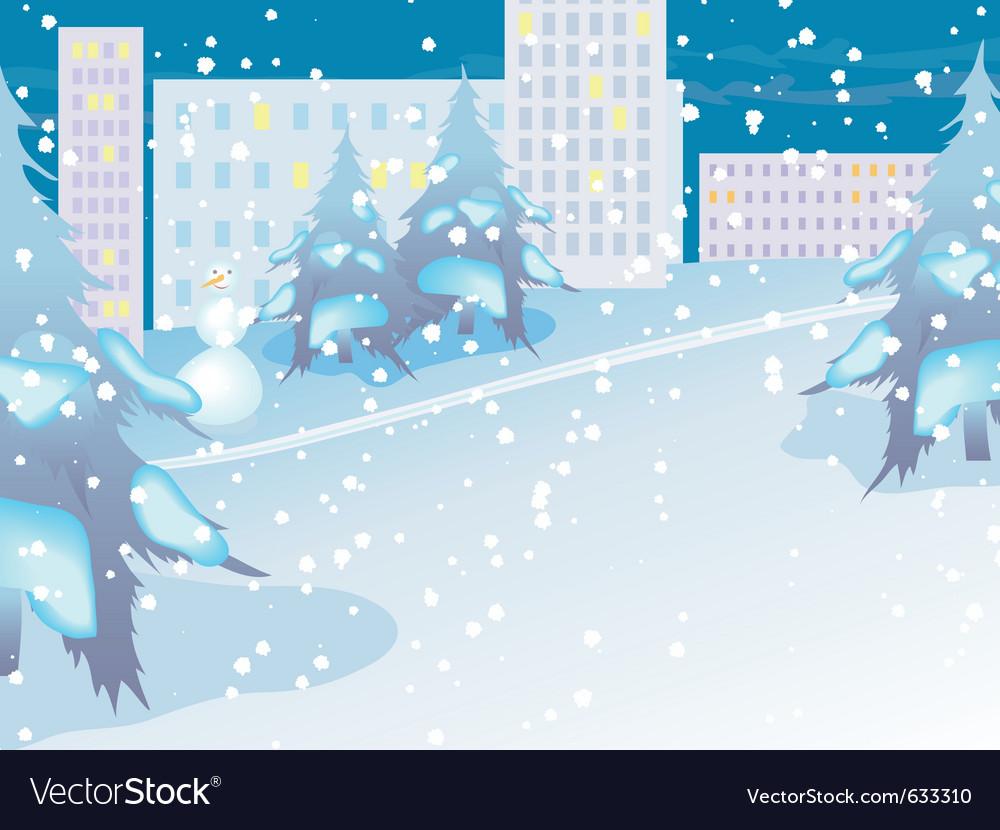 Urban landscape night city in snow vector | Price: 1 Credit (USD $1)