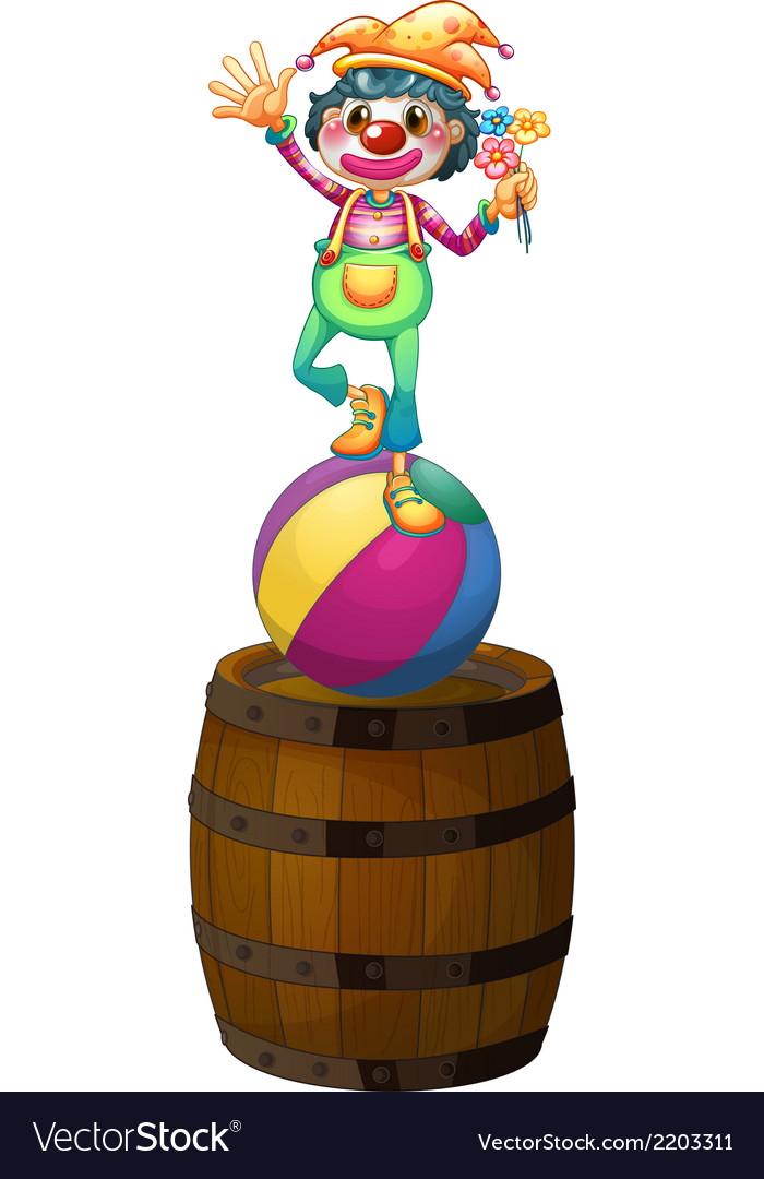 A playful clown above the wooden barrel vector | Price: 1 Credit (USD $1)