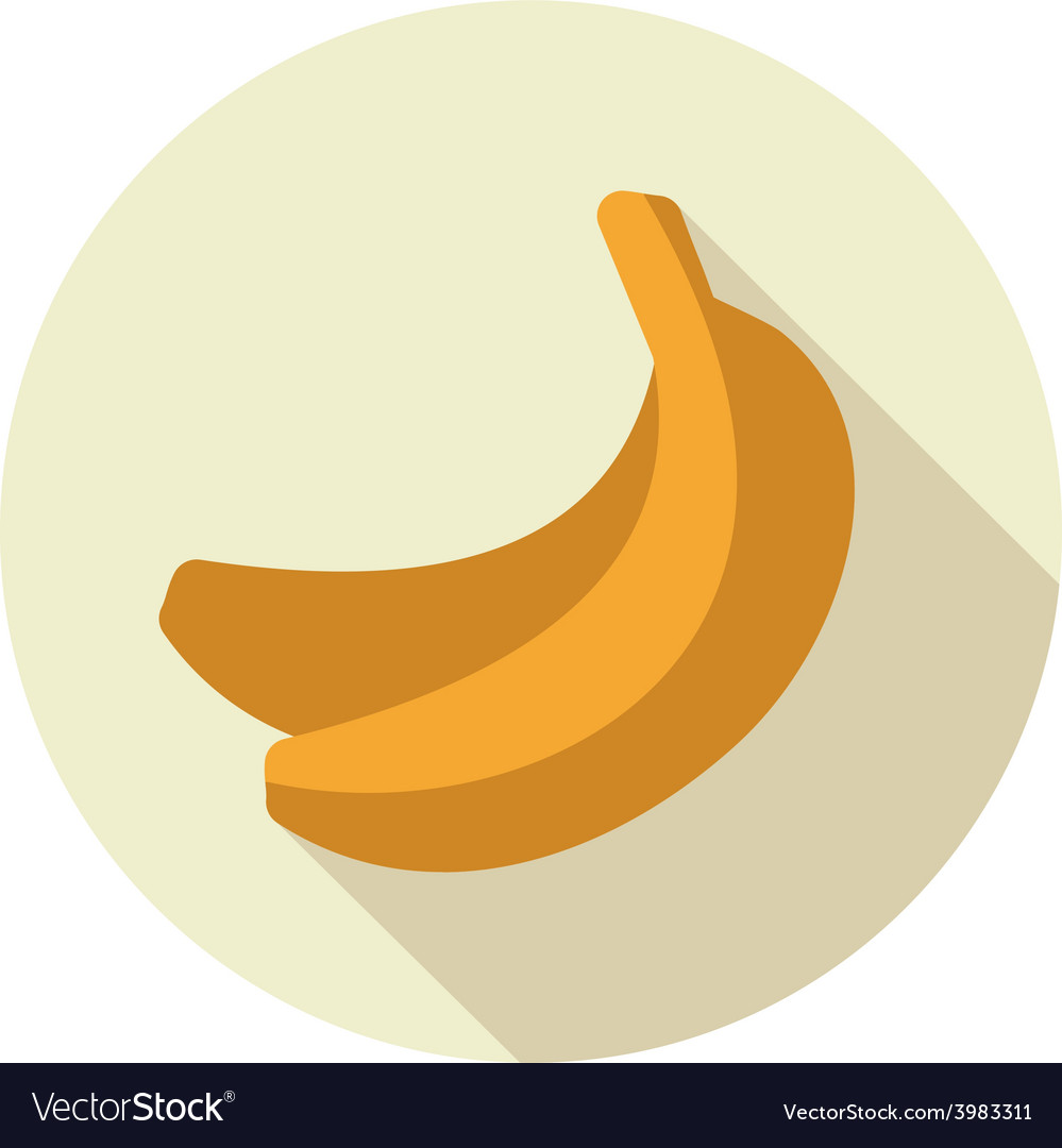 Banana flat icon with long shadow vector | Price: 1 Credit (USD $1)
