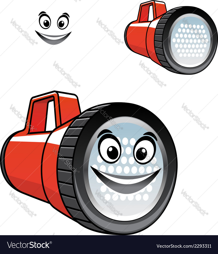 Big red torch or flashlight with a happy smile vector | Price: 1 Credit (USD $1)