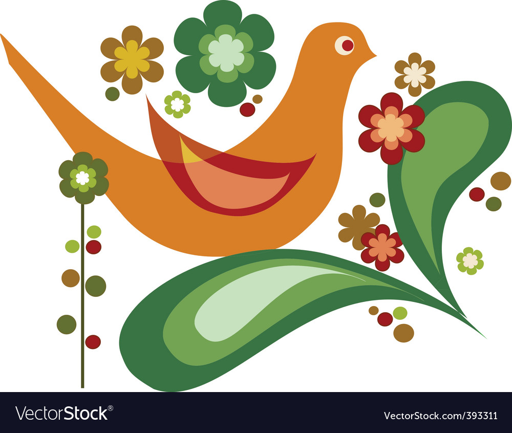Bird with flower vector | Price: 1 Credit (USD $1)