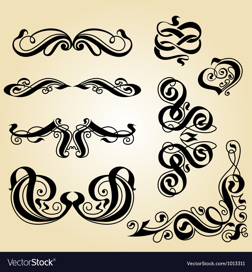 Calligraphy ornament set 1 vector | Price: 1 Credit (USD $1)