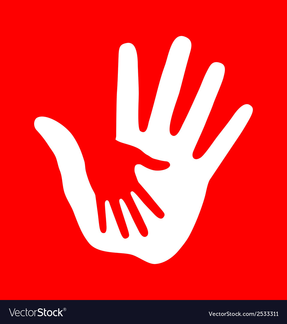 Caring hand on red background vector | Price: 1 Credit (USD $1)