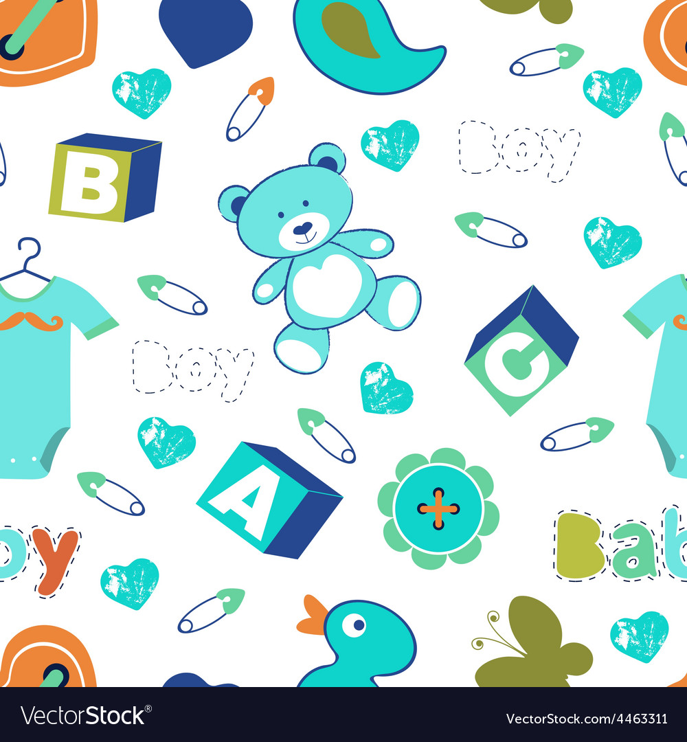 Colorful baby boy seamless pattern vector | Price: 1 Credit (USD $1)