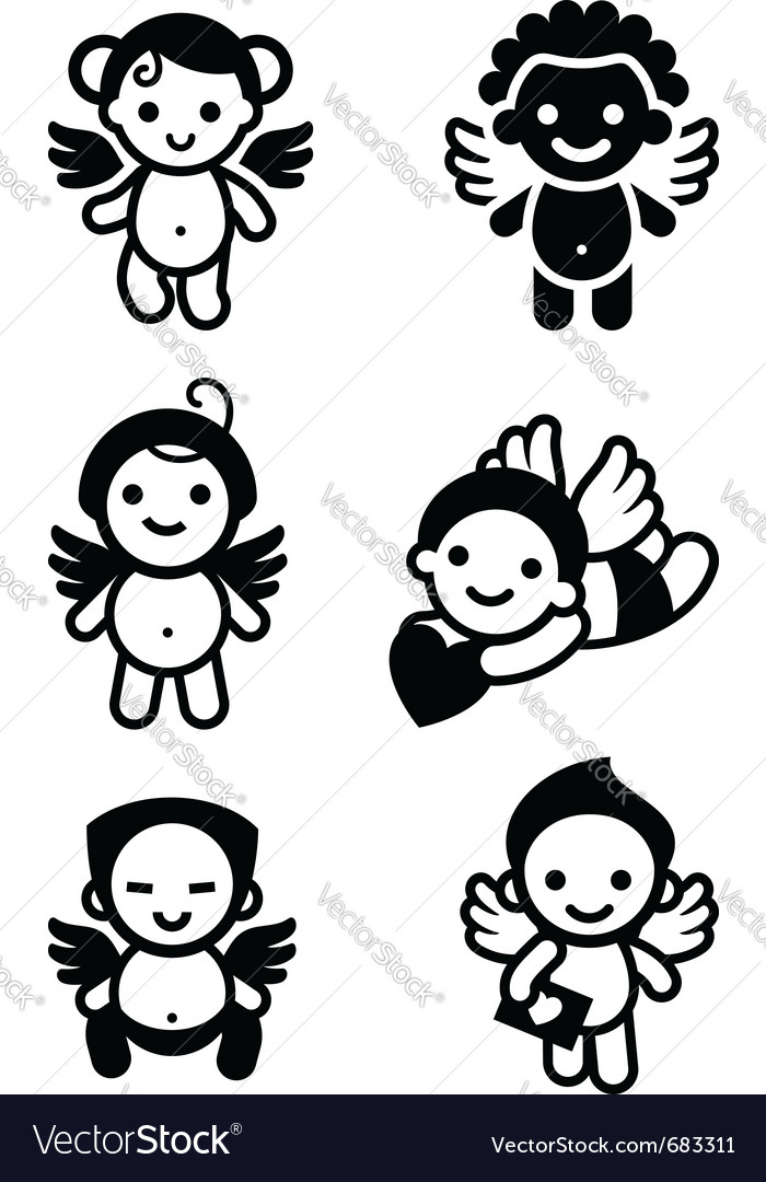 Cupid angels vector