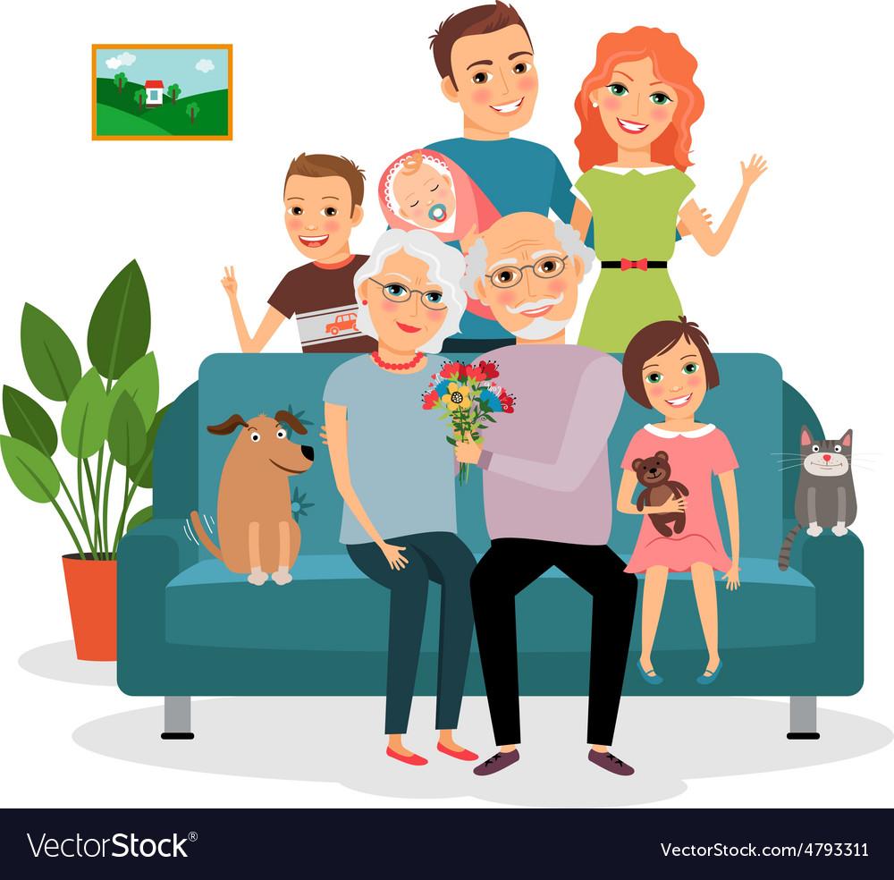 Family on sofa vector