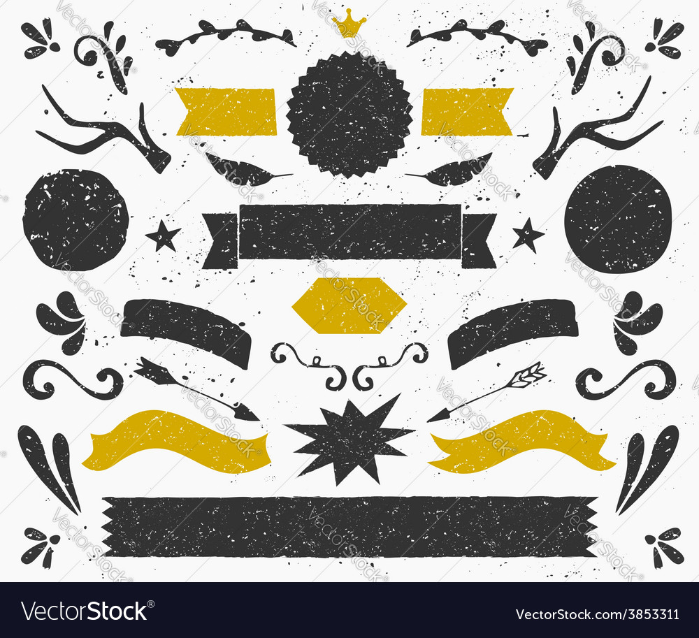 Gold and black vintage style design elements set vector | Price: 1 Credit (USD $1)