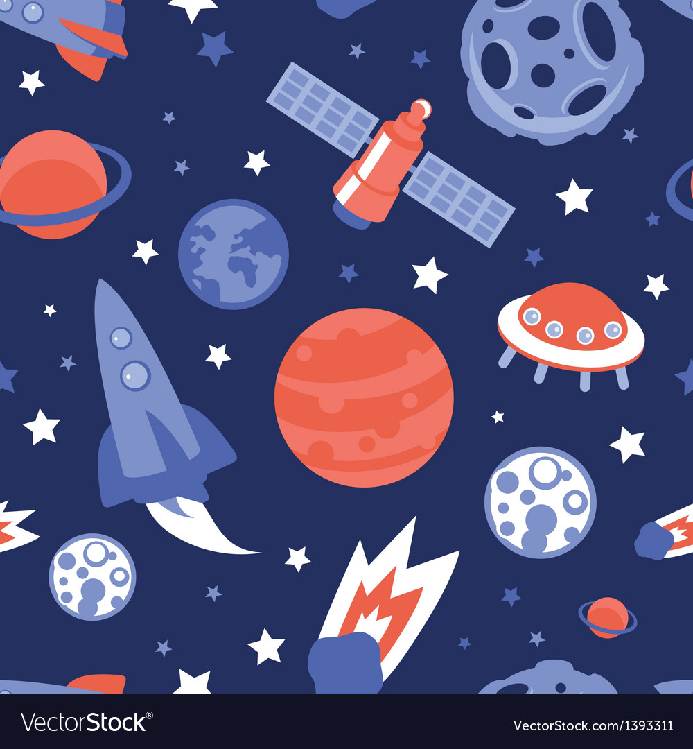 Seamless pattern with planets and stars vector | Price: 1 Credit (USD $1)