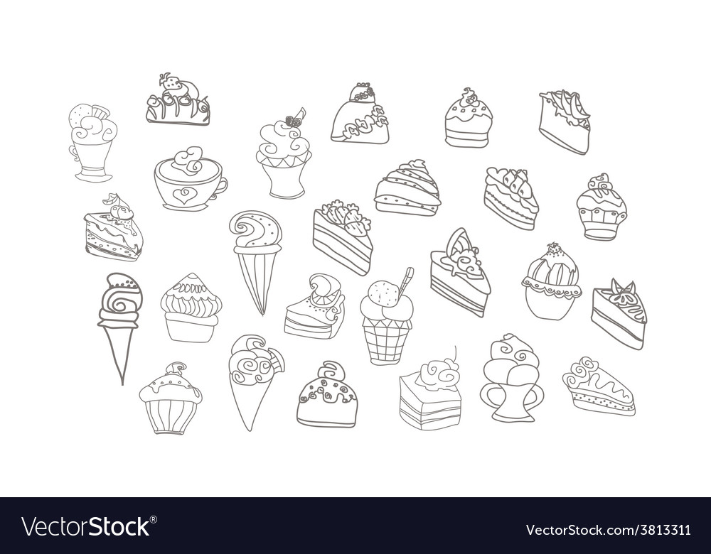 Sweet dessert background doodle set vector | Price: 1 Credit (USD $1)