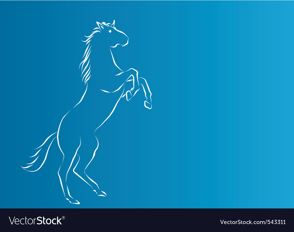 White silhouette of horse on the blue background vector | Price: 1 Credit (USD $1)