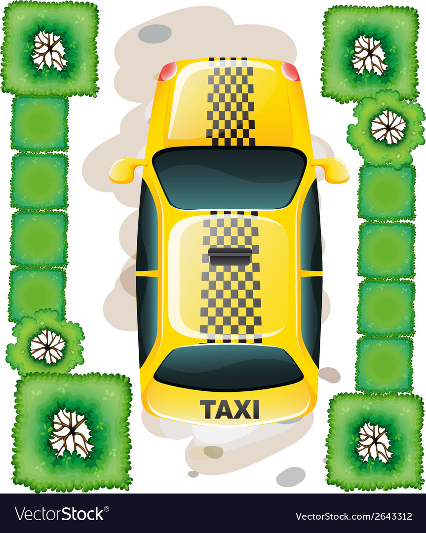 A topview of a yellow taxi vector | Price: 1 Credit (USD $1)