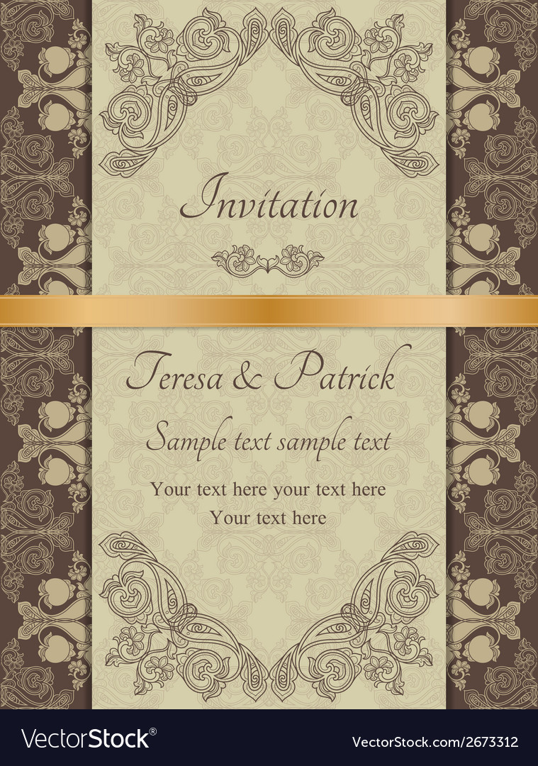 Baroque invitation brown vector | Price: 1 Credit (USD $1)