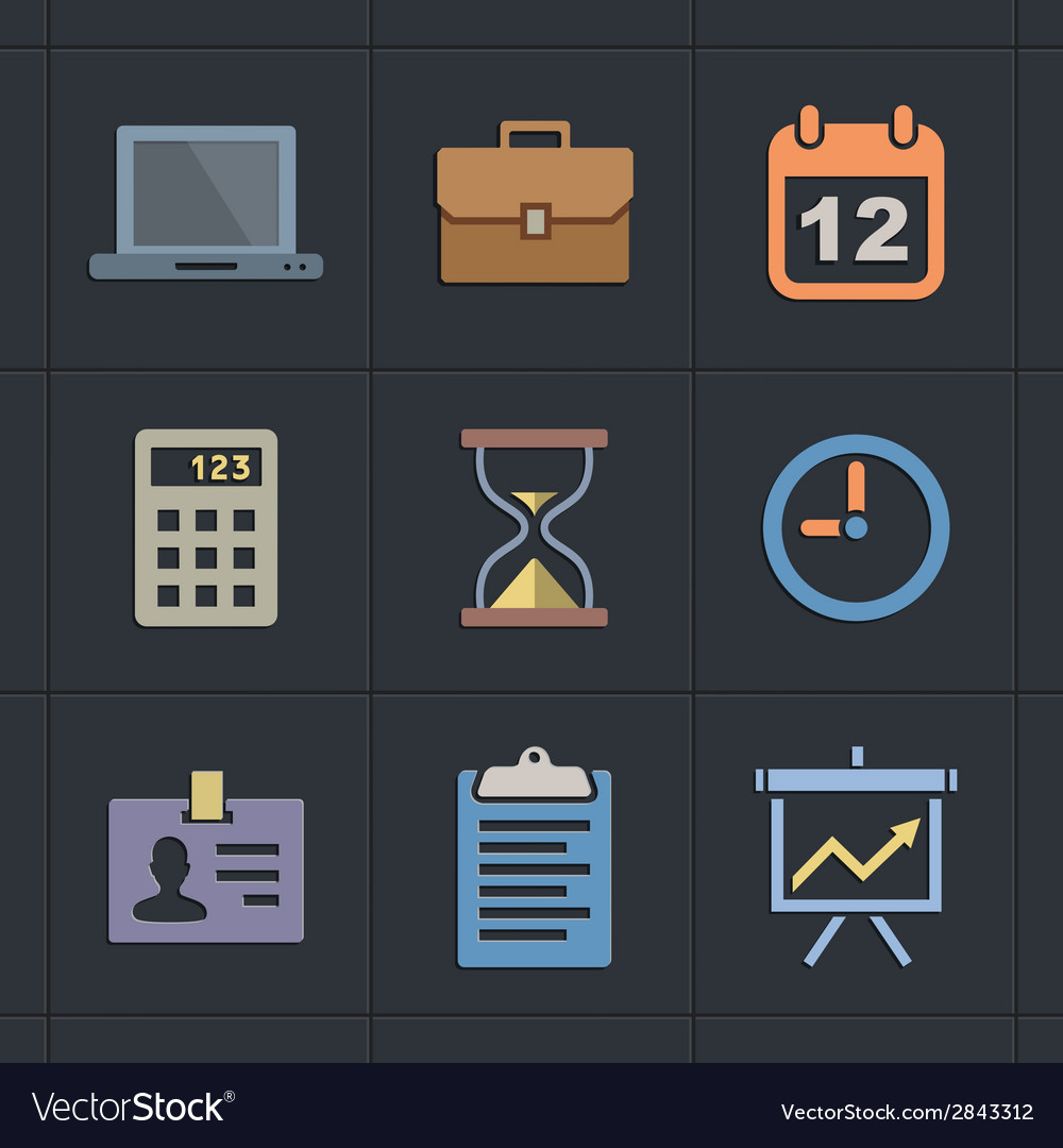 Business flat metro style icons vector | Price: 1 Credit (USD $1)