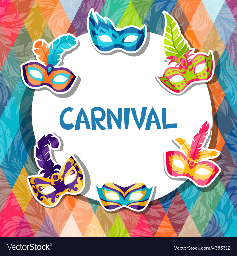 Celebration festive background with carnival masks vector | Price: 1 Credit (USD $1)