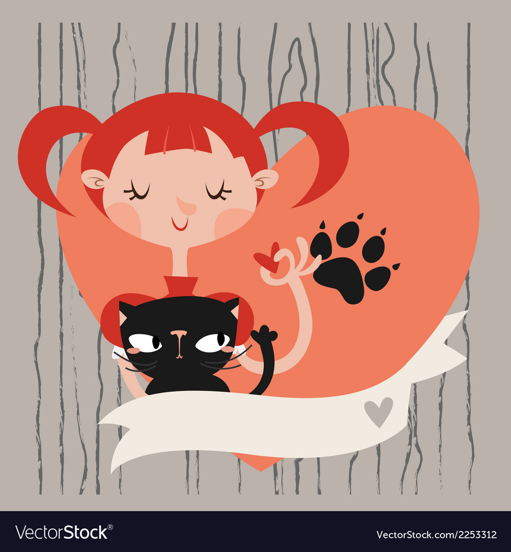 Girl with her cat template vector | Price: 1 Credit (USD $1)