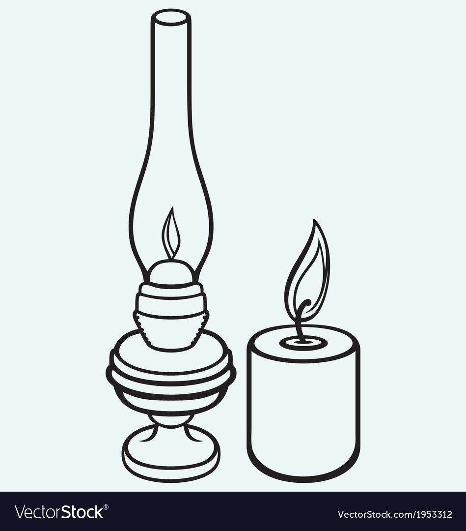 Kerosene lamp and candle vector | Price: 1 Credit (USD $1)