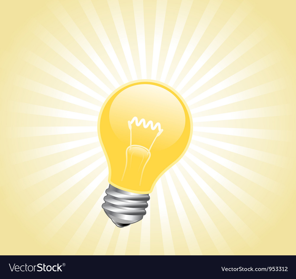 Lightbulb with light beams vector | Price: 1 Credit (USD $1)