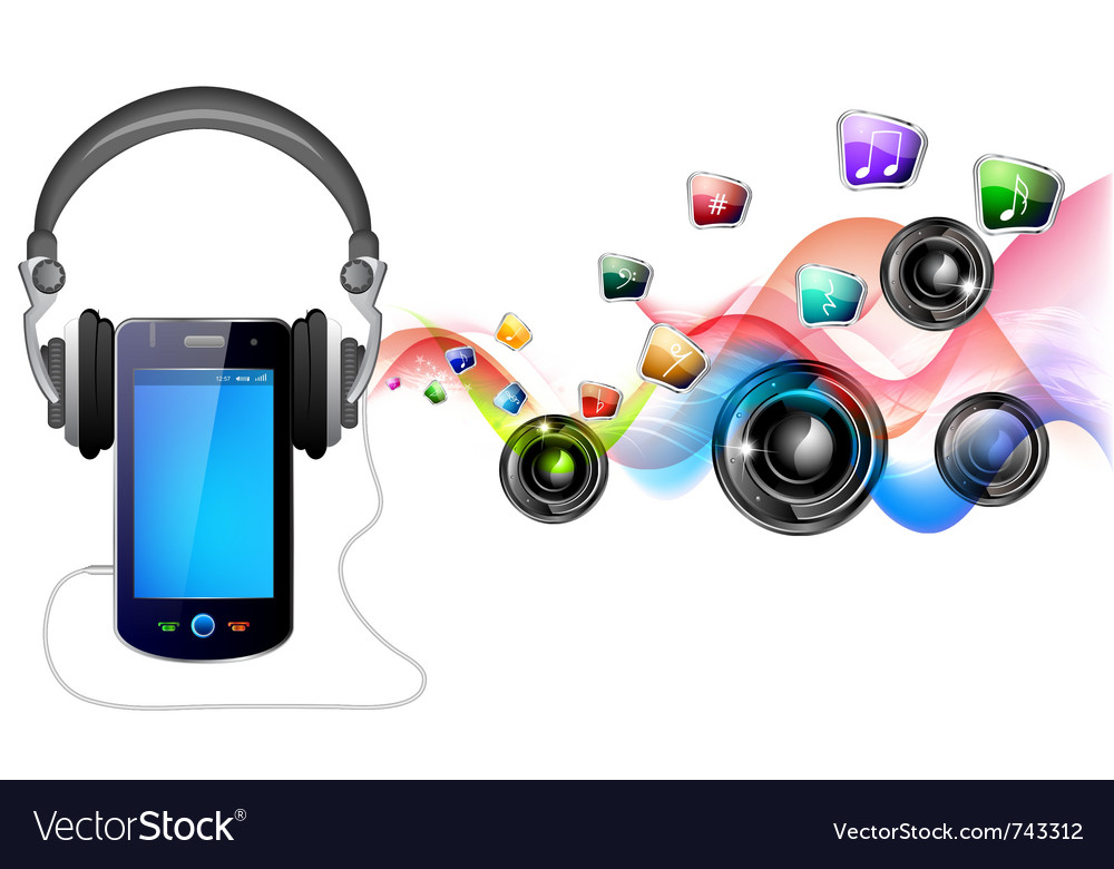 Mobile and music vector | Price: 3 Credit (USD $3)