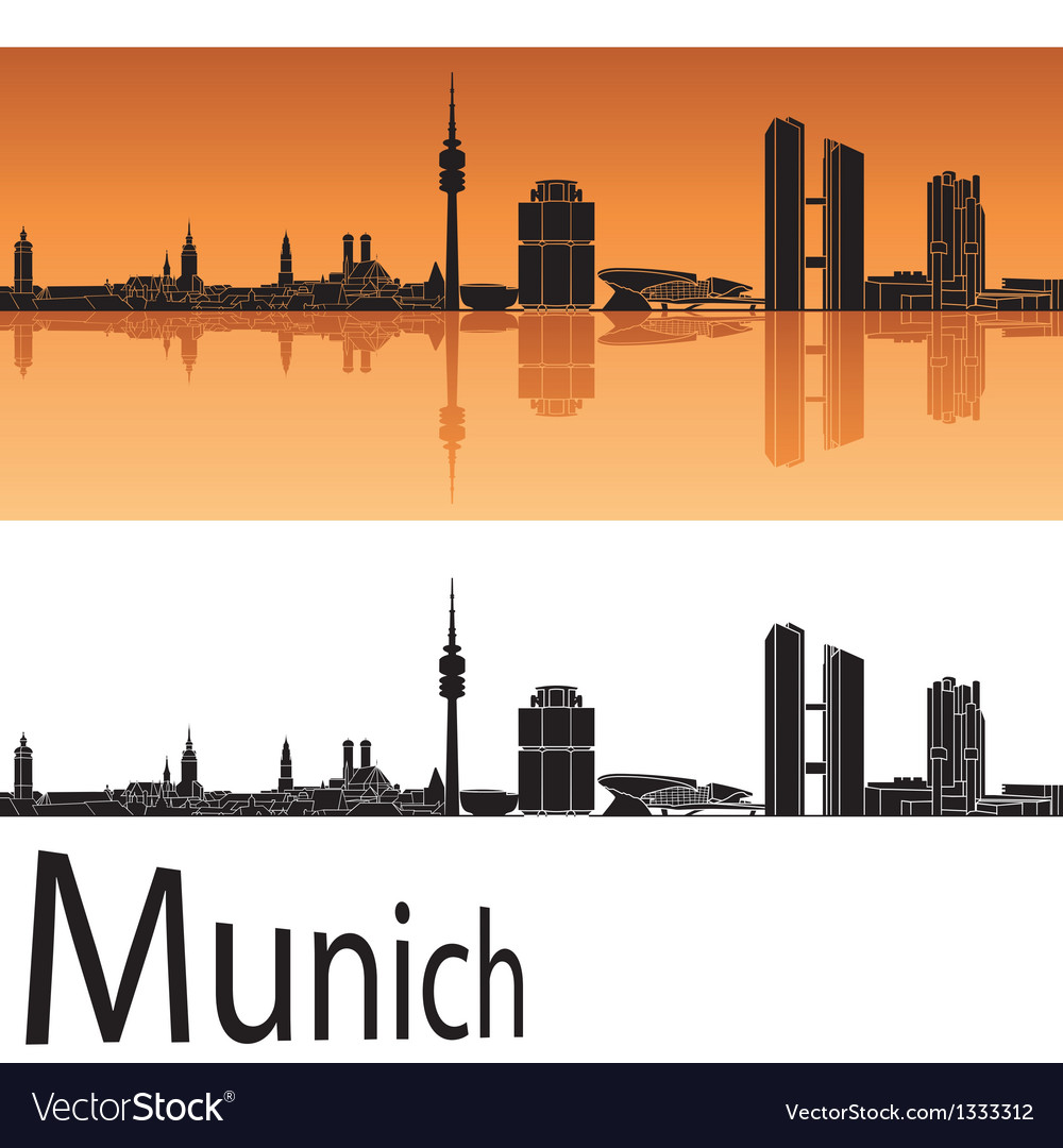 Munich skyline in orange background vector | Price: 1 Credit (USD $1)