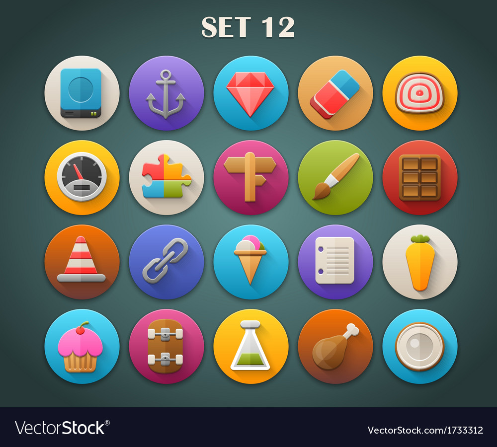 Round bright icons with long shadow set 12 vector | Price: 1 Credit (USD $1)