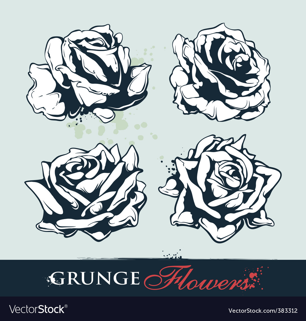 Set of grungy roses vector | Price: 1 Credit (USD $1)