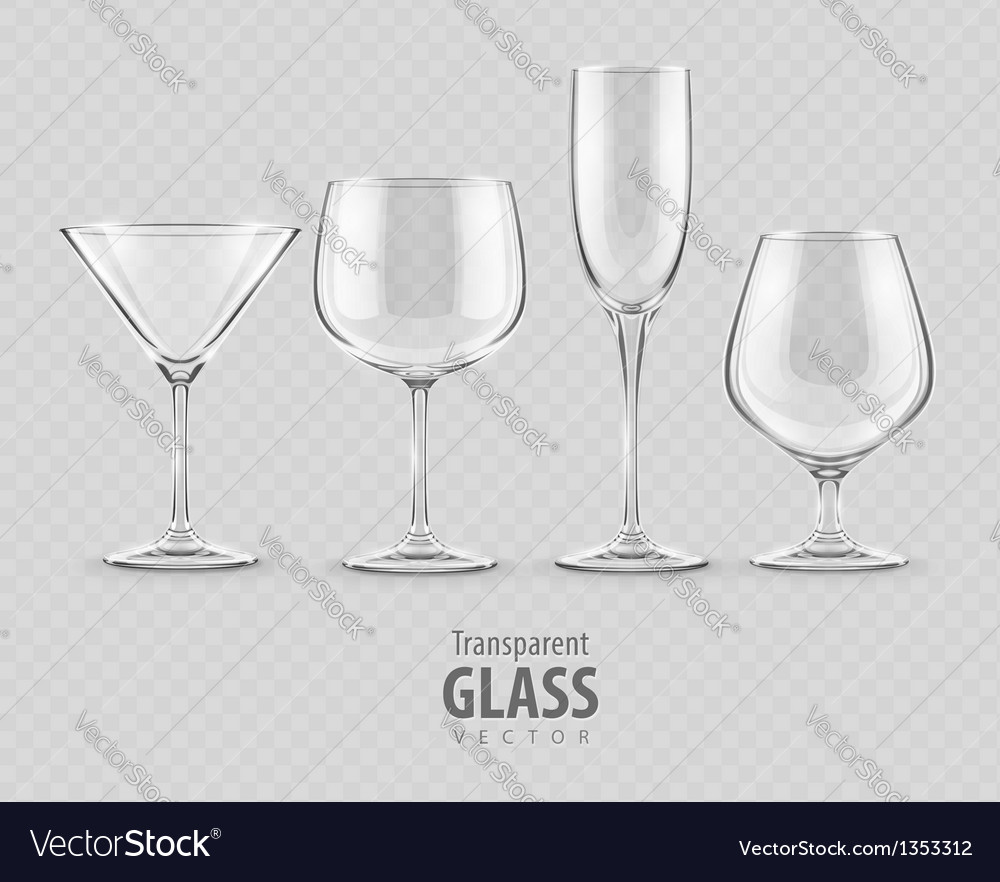 Set of transparent glass vector | Price: 1 Credit (USD $1)