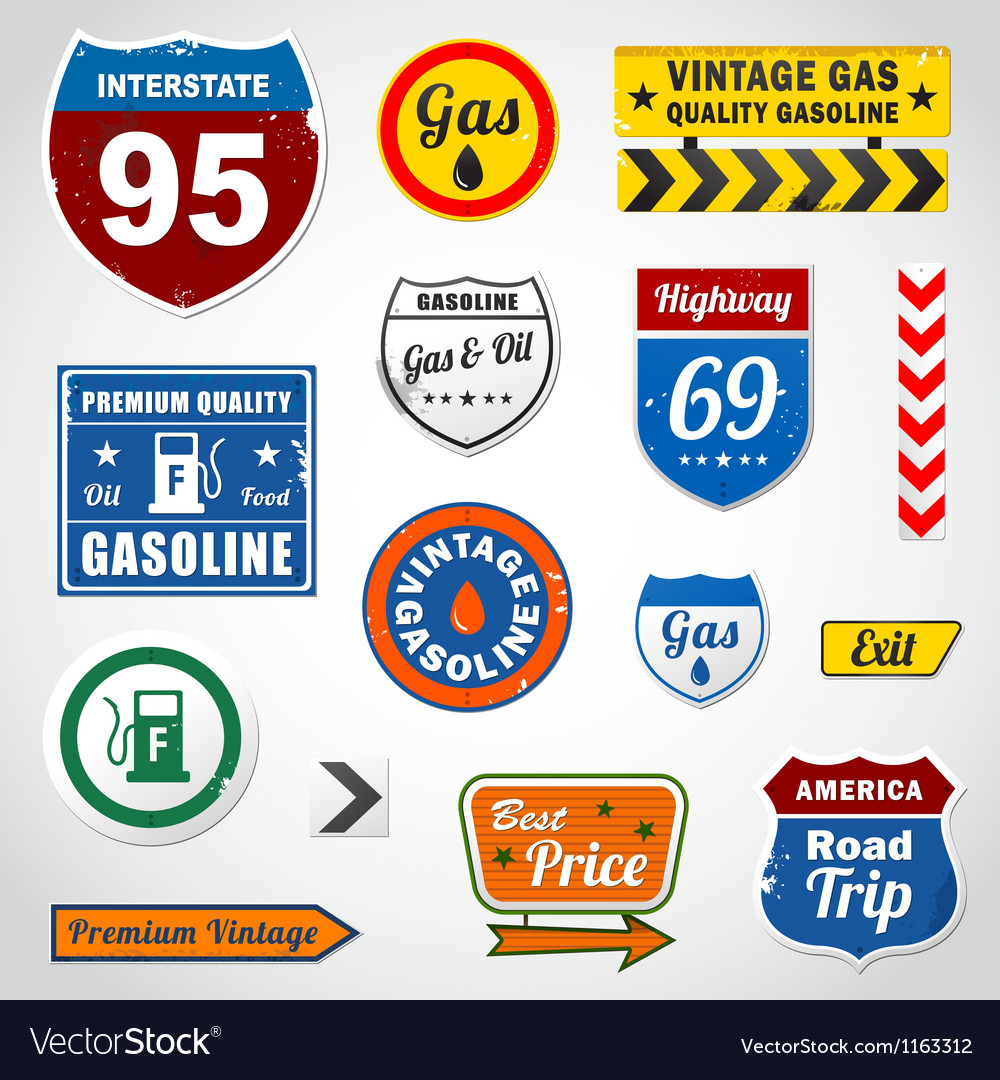 Set of vintage gasoline retro signs and labels vector | Price: 1 Credit (USD $1)