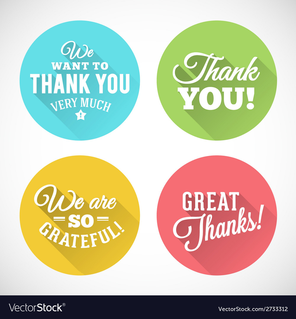 Thank you abstract flat style badges or icons vector | Price: 1 Credit (USD $1)
