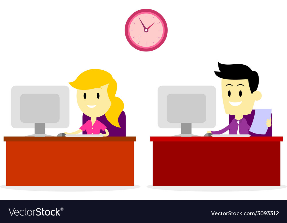Working on office computer vector | Price: 1 Credit (USD $1)