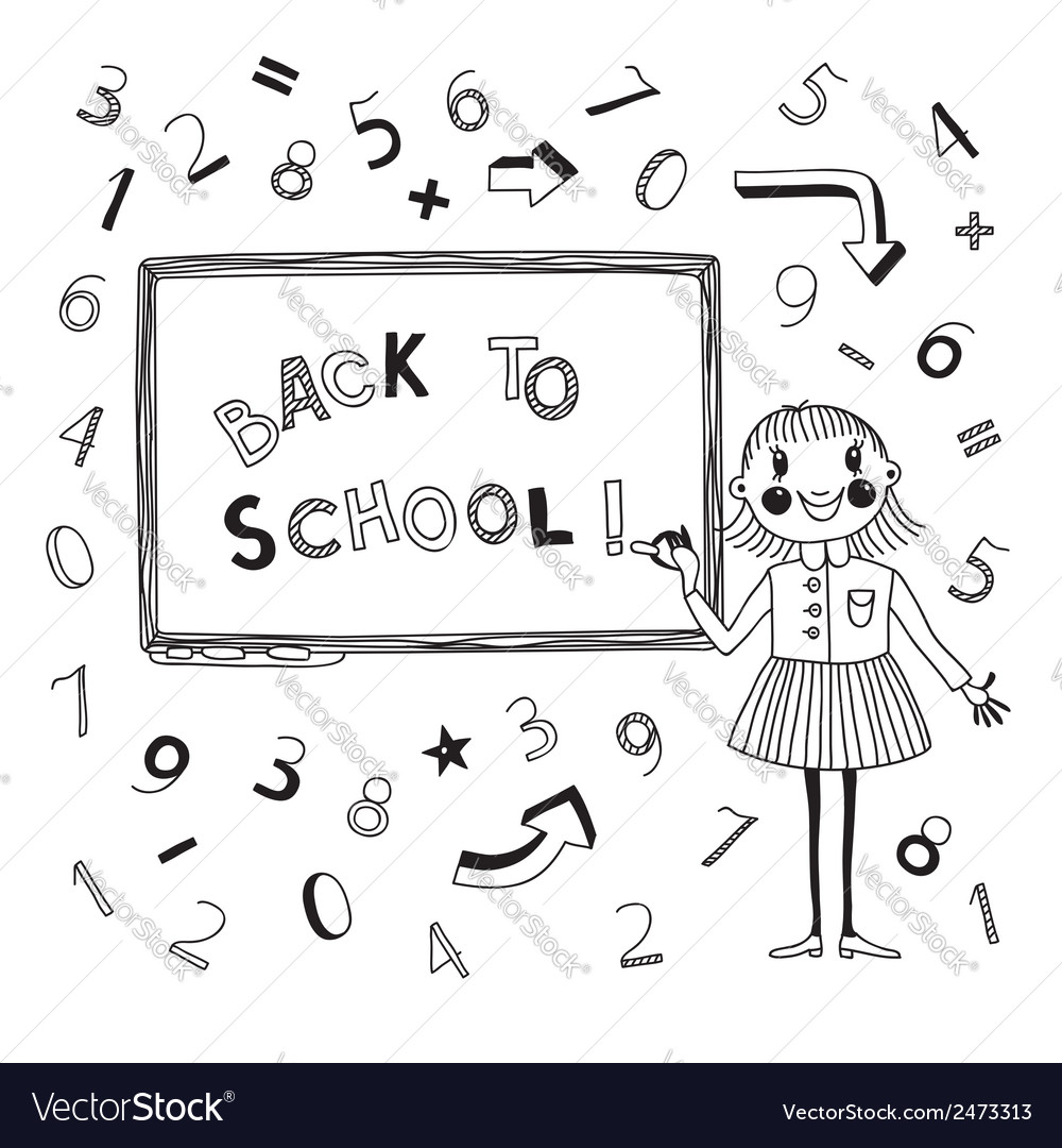 Back to school schoolgirl at the blackboard vector | Price: 1 Credit (USD $1)