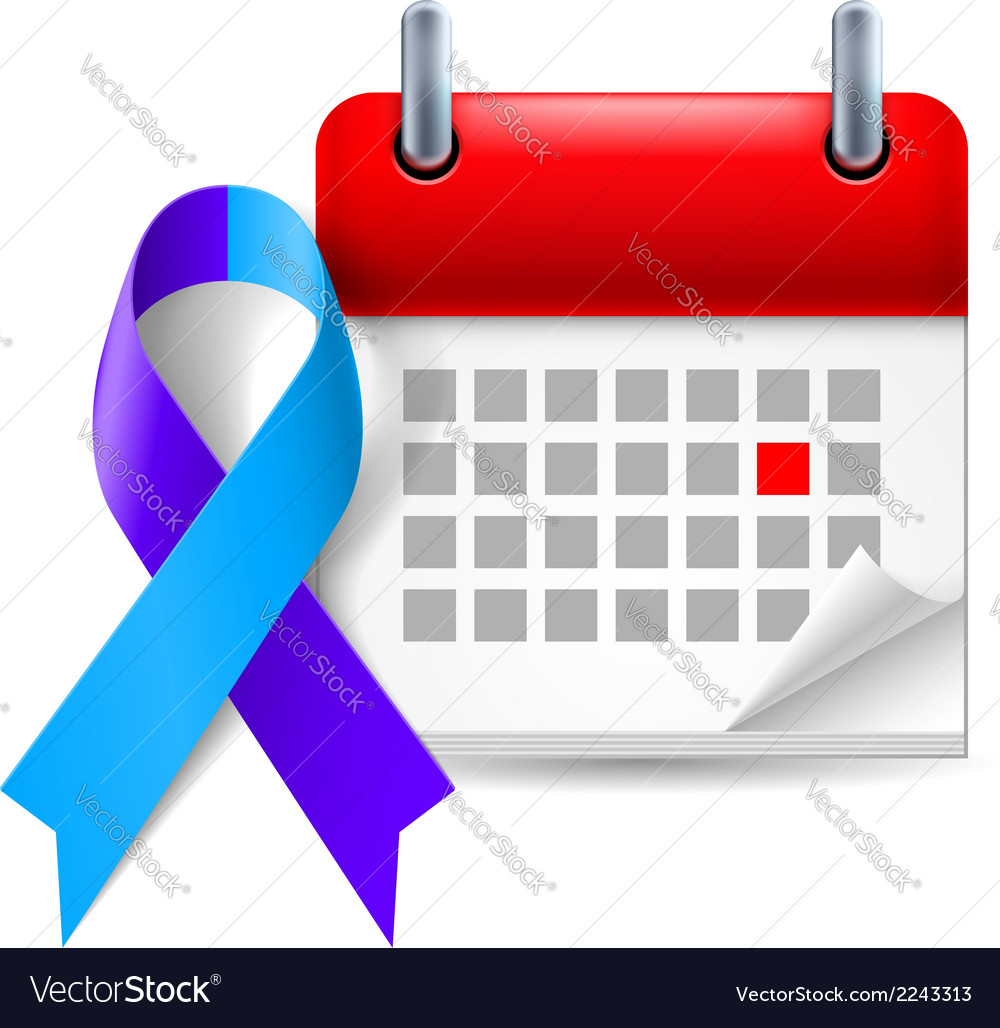 Blue and purple awareness ribbon and calendar vector | Price: 1 Credit (USD $1)