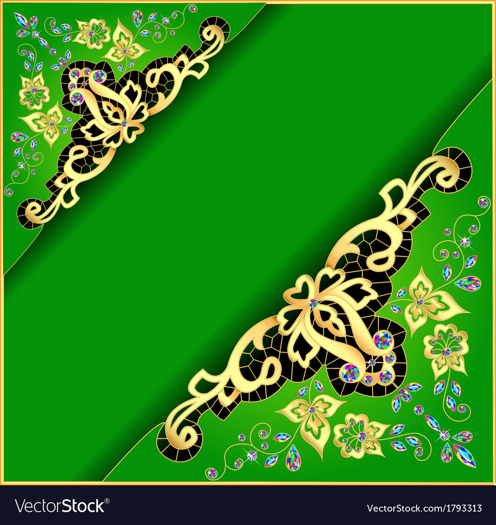 Green background with gold ornament vector | Price: 1 Credit (USD $1)