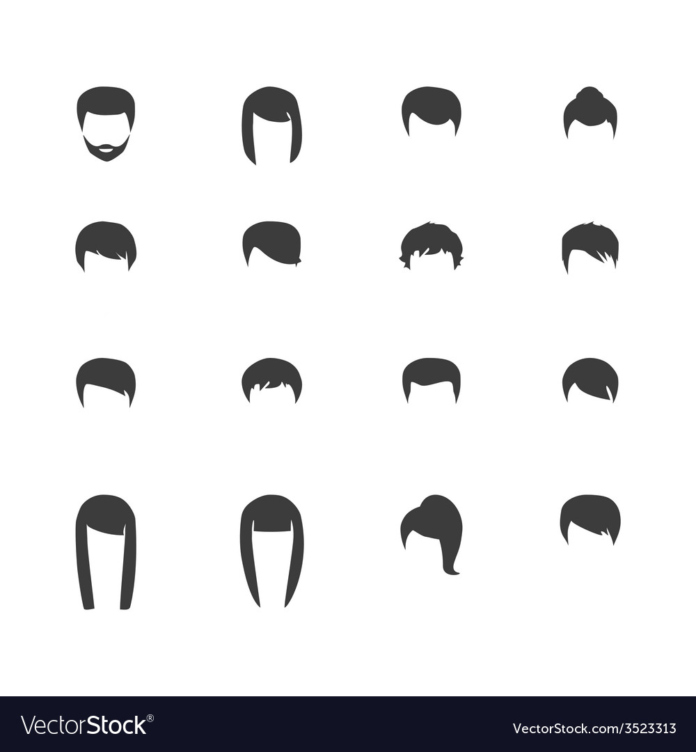 Hair silhouettes woman and man hairstyle vector | Price: 1 Credit (USD $1)