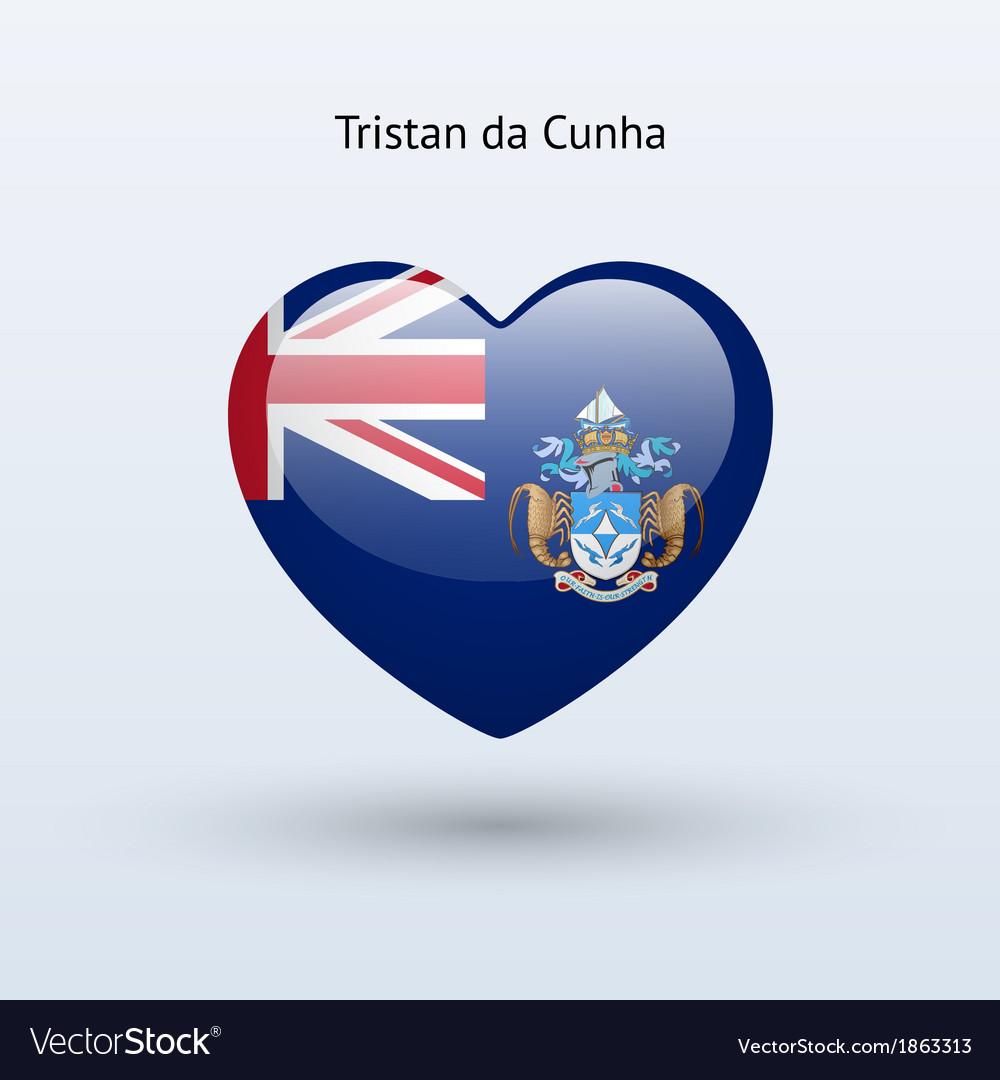 Love tristan da cunha symbol heart flag icon vector | Price: 1 Credit (USD $1)