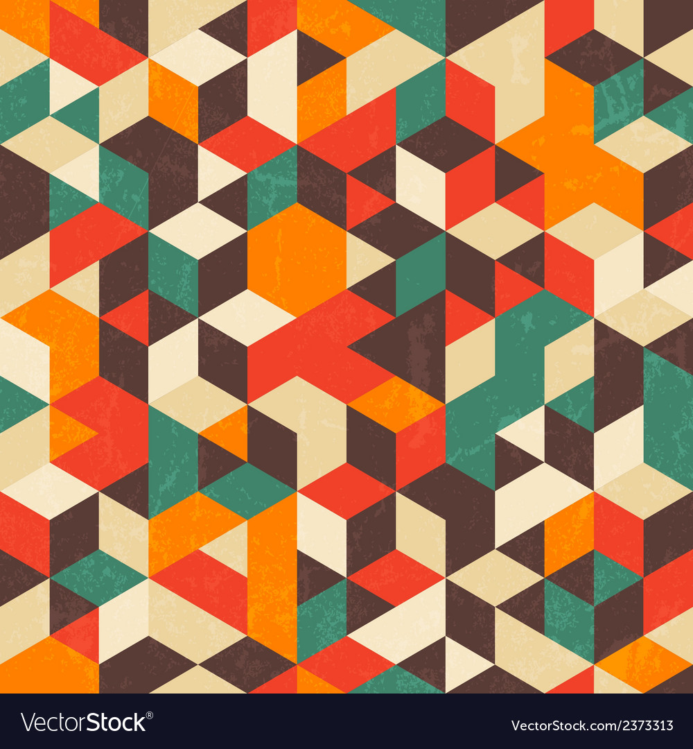 Retro geometric pattern with grunge texture vector | Price: 1 Credit (USD $1)