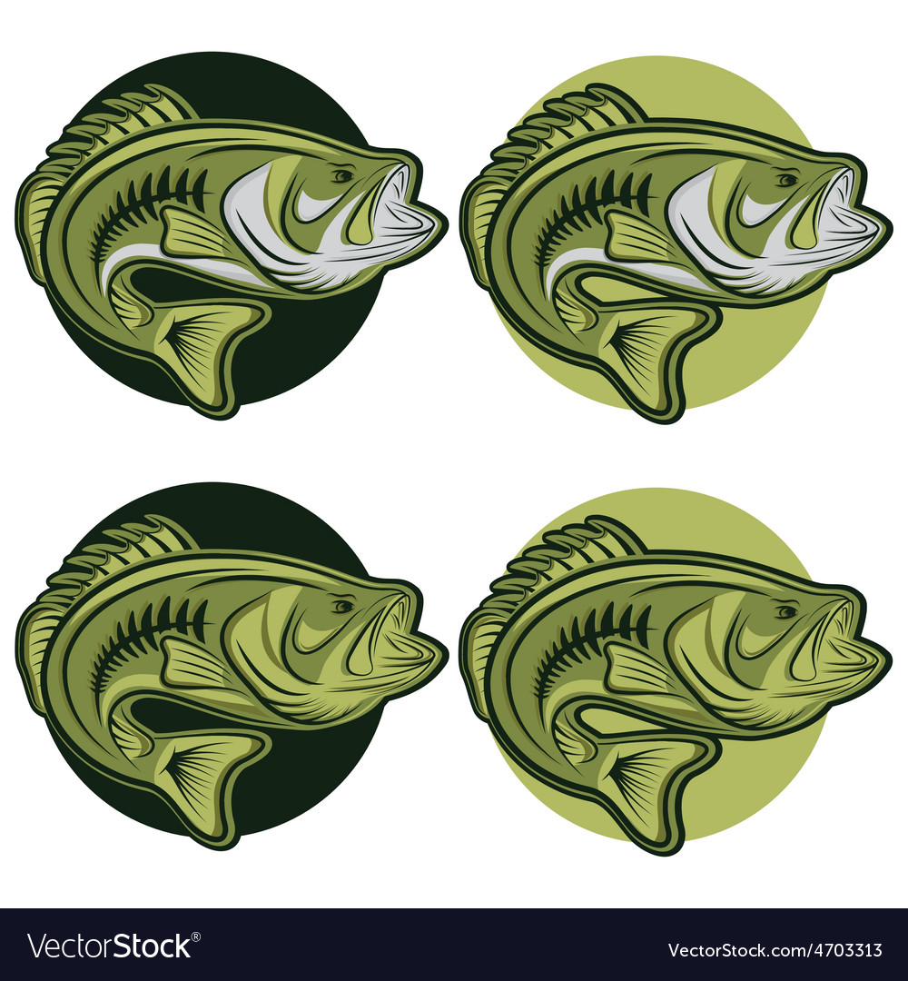 Set of labels wit large moutn bass vector | Price: 1 Credit (USD $1)
