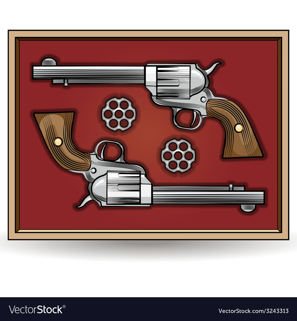 Set of revolvers drawn in vintage style vector | Price: 1 Credit (USD $1)